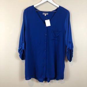 Pleione Blue Roll Tab Sleeves Blouse L NWT